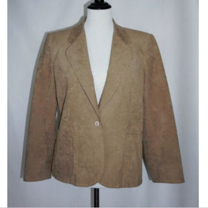 Saks Fifth Avenue Tan Ultrasuede Blazer Women's 12